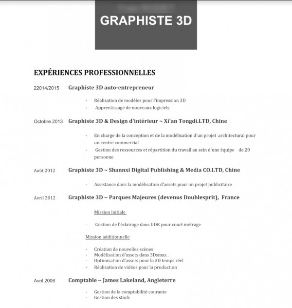 exemple de cv concepteur de jeux video