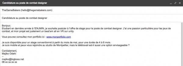 Exemple d'email de candidature